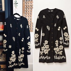 ANTHRO Embroidered Long Sweater Coat flower jacket